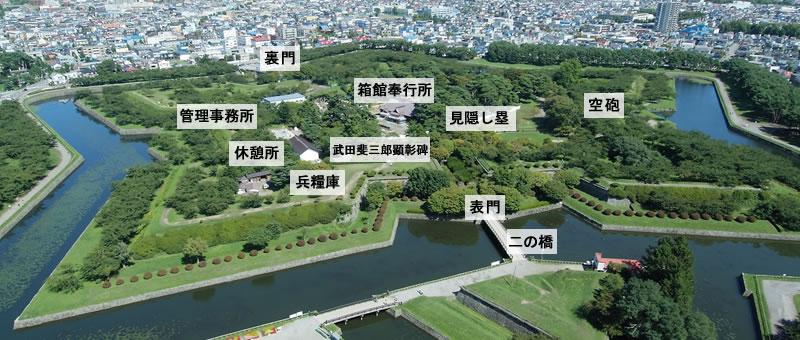 函館五稜郭の航空写真説明