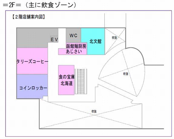函館駅エキナカ2階店舗案内図