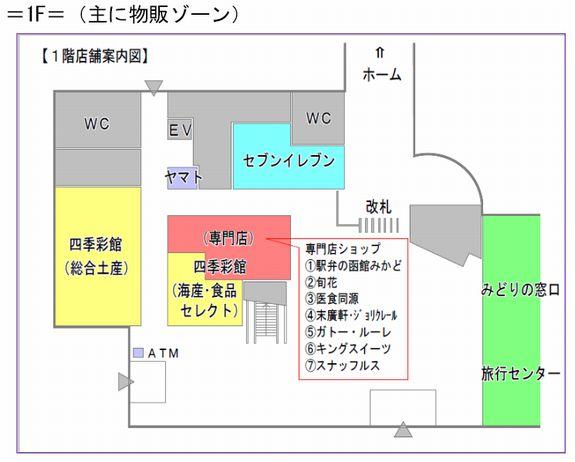 函館駅エキナカ1階店舗案内図